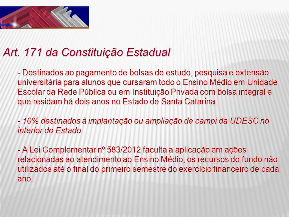Art. 171 da Constituição Estadual - Destinados ao pagamento de bolsas de estudo, pesquisa e extensão universitária para alunos que cursaram todo o Ens
