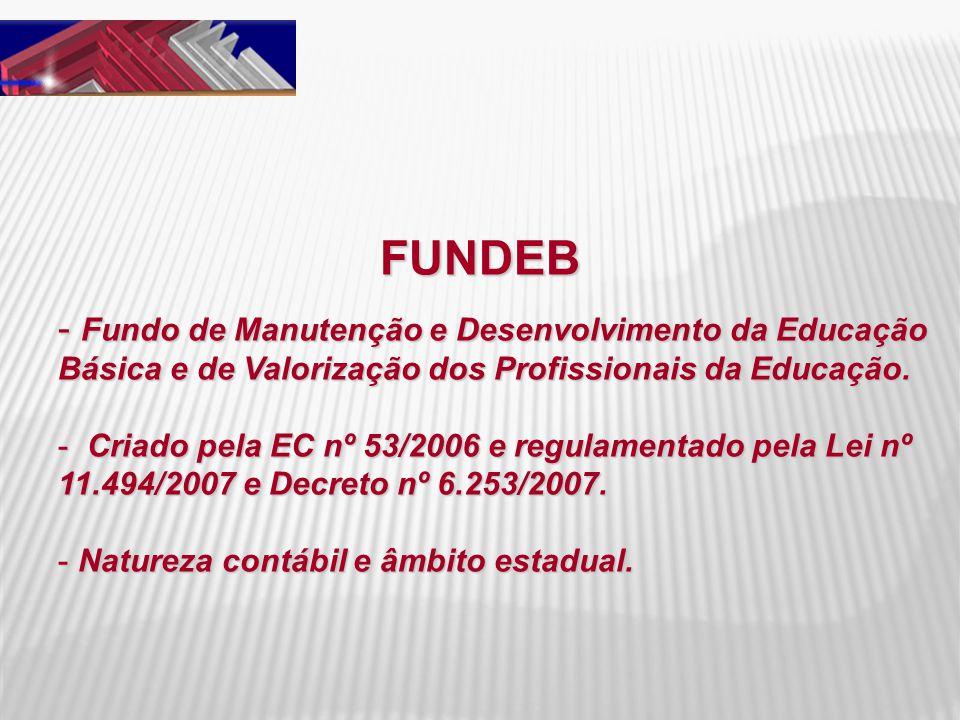 FUNDEB - Fundo de Manutenção e Desenvolvimento da Educação Básica e de Valorização dos Profissionais da Educação. - Criado pela EC nº 53/2006 e regula