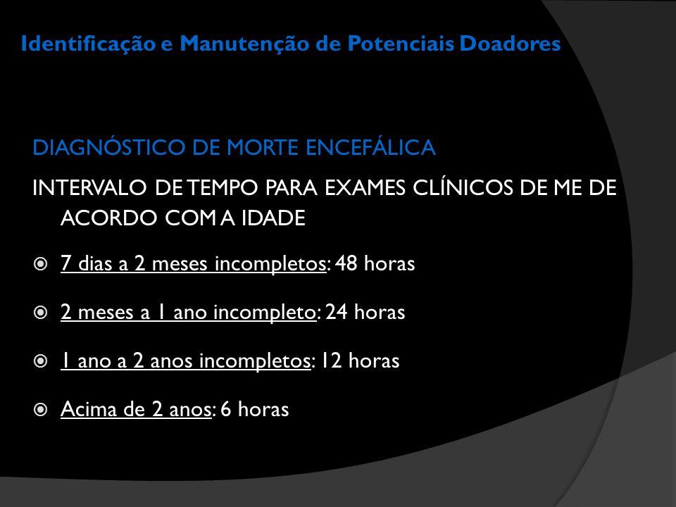 Identificação e Manutenção de Potenciais Doadores DIAGNÓSTICO DE MORTE ENCEFÁLICA INTERVALO DE TEMPO PARA EXAMES CLÍNICOS DE ME DE ACORDO COM A IDADE