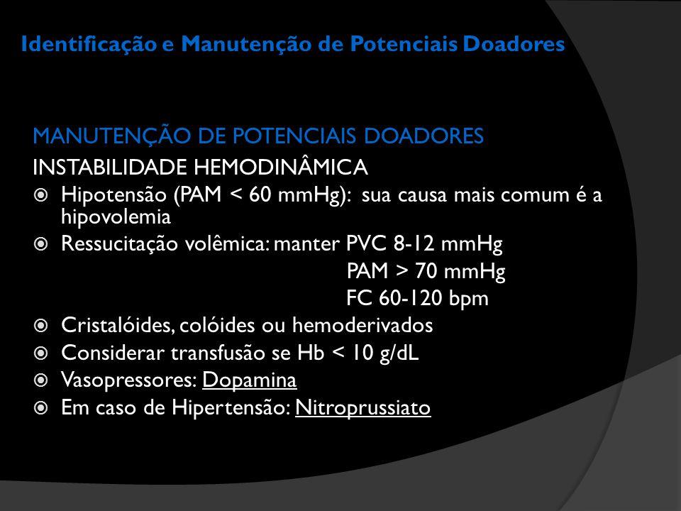 Identificação e Manutenção de Potenciais Doadores MANUTENÇÃO DE POTENCIAIS DOADORES INSTABILIDADE HEMODINÂMICA  Hipotensão (PAM < 60 mmHg): sua causa