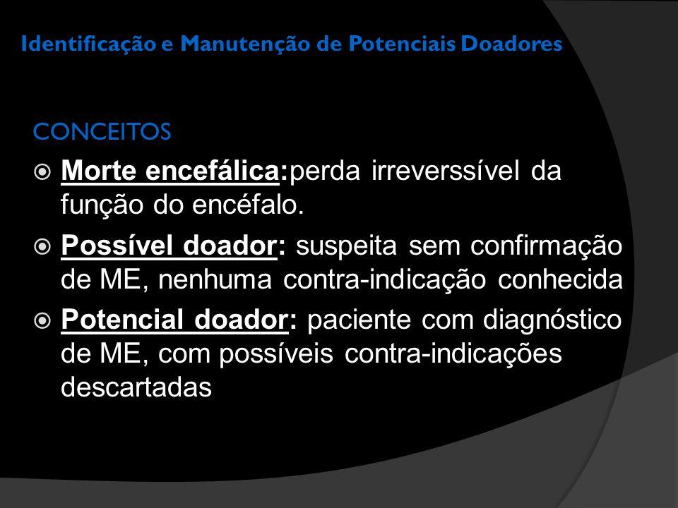 Identificação e Manutenção de Potenciais Doadores MANUTENÇÃO DE POTENCIAIS DOADORES INSTABILIDADE HEMODINÂMICA  Hipotensão (PAM < 60 mmHg): sua causa mais comum é a hipovolemia  Ressucitação volêmica: manter PVC 8-12 mmHg PAM > 70 mmHg FC 60-120 bpm  Cristalóides, colóides ou hemoderivados  Considerar transfusão se Hb < 10 g/dL  Vasopressores: Dopamina  Em caso de Hipertensão: Nitroprussiato