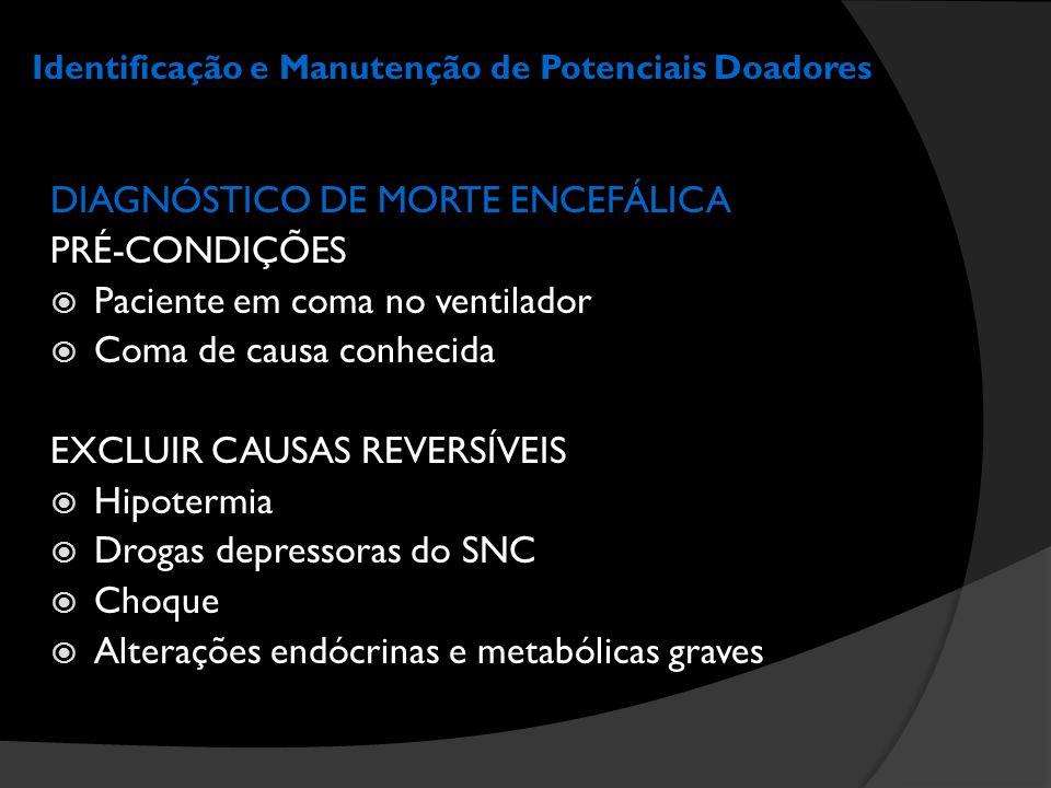 Identificação e Manutenção de Potenciais Doadores DIAGNÓSTICO DE MORTE ENCEFÁLICA PRÉ-CONDIÇÕES  Paciente em coma no ventilador  Coma de causa conhe