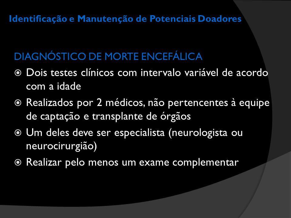 Identificação e Manutenção de Potenciais Doadores DIAGNÓSTICO DE MORTE ENCEFÁLICA  Dois testes clínicos com intervalo variável de acordo com a idade