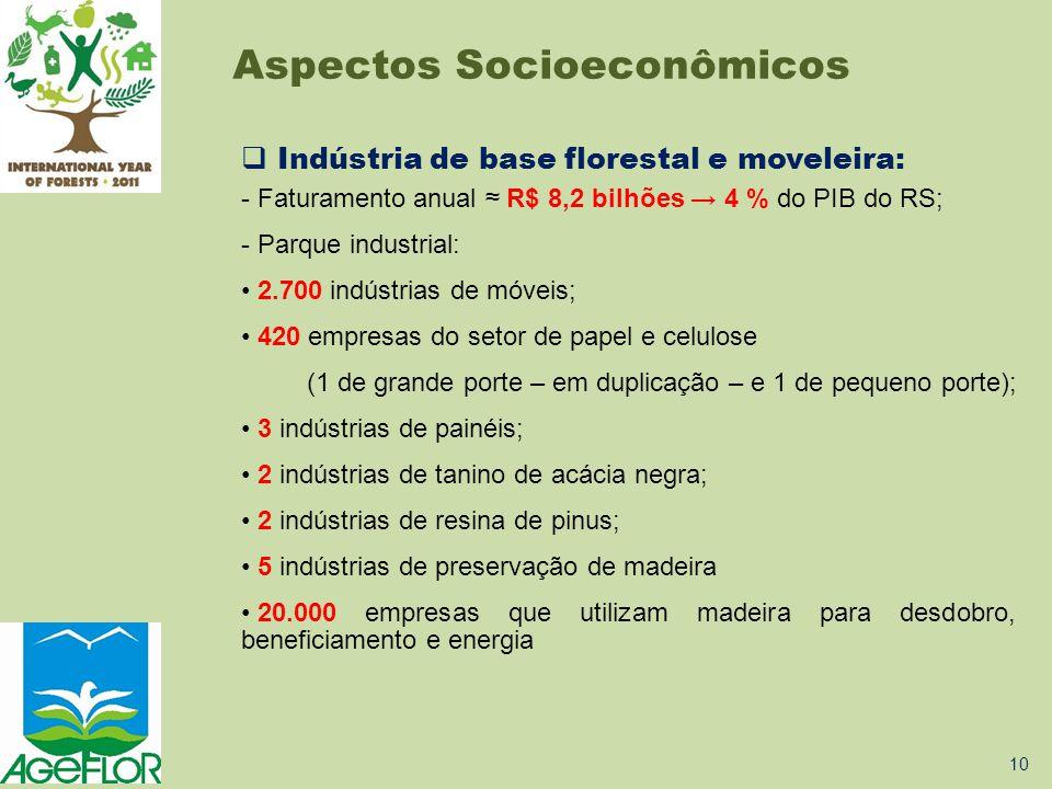  Indústria de base florestal e moveleira: - Faturamento anual ≈ R$ 8,2 bilhões → 4 % do PIB do RS; - Parque industrial: • 2.700 indústrias de móveis;