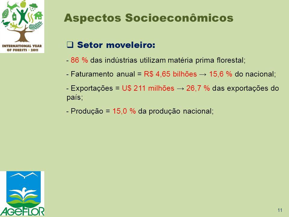  Setor moveleiro: - 86 % das indústrias utilizam matéria prima florestal; - Faturamento anual = R$ 4,65 bilhões → 15,6 % do nacional; - Exportações =