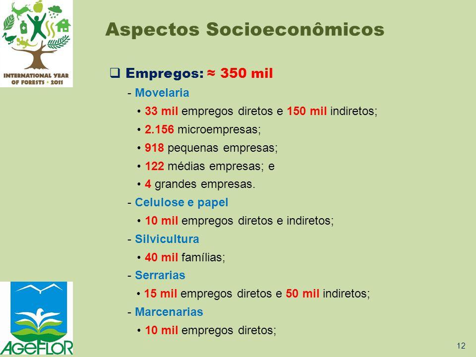  Empregos: ≈ 350 mil - Movelaria • 33 mil empregos diretos e 150 mil indiretos; • 2.156 microempresas; • 918 pequenas empresas; • 122 médias empresas