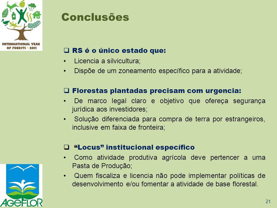 RS é o único estado que: • Licencia a silvicultura; • Dispõe de um zoneamento específico para a atividade;  Florestas plantadas precisam com urgenc