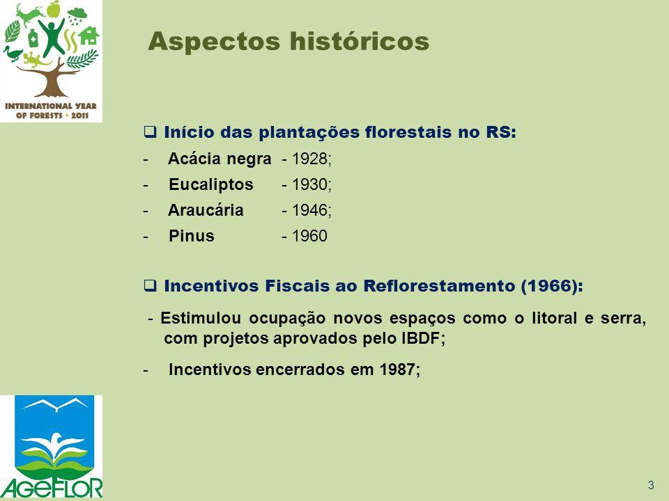 Aspectos históricos  Plantio de florestas continuou, estabelecendo uma cadeia produtiva de base florestal: - 2003: Programa Floresta-Indústria/RS Objetivos: •Aumentar a área de plantações florestais; •Ampliar e modernizar as indústrias de base florestal existentes; •Atrair novas indústrias; •Contribuir para a dinamização socioeconômica da Metade Sul.