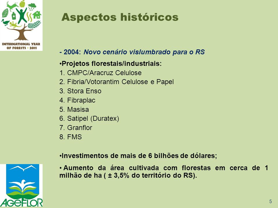 - 2004: Novo cenário vislumbrado para o RS •Projetos florestais/industriais: 1. CMPC/Aracruz Celulose 2. Fibria/Votorantim Celulose e Papel 3. Stora E