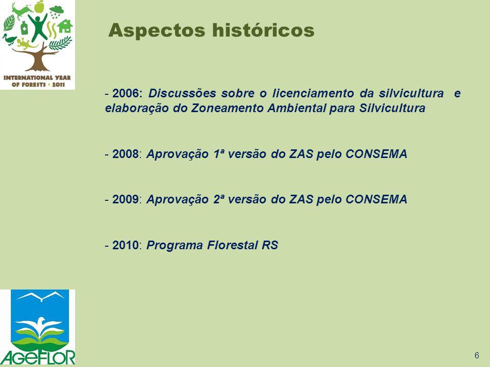 - 2006: Discussões sobre o licenciamento da silvicultura e elaboração do Zoneamento Ambiental para Silvicultura - 2008: Aprovação 1ª versão do ZAS pel