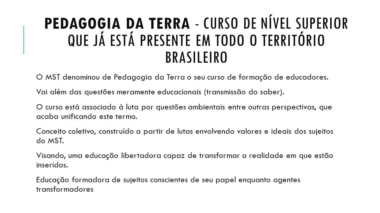 PEDAGOGIA DA TERRA - CURSO DE NÍVEL SUPERIOR QUE JÁ ESTÁ PRESENTE EM TODO O TERRITÓRIO BRASILEIRO O MST denominou de Pedagogia da Terra o seu curso de
