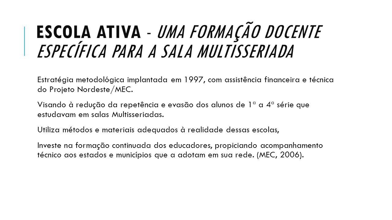 ESCOLA ATIVA - UMA FORMAÇÃO DOCENTE ESPECÍFICA PARA A SALA MULTISSERIADA Estratégia metodológica implantada em 1997, com assistência financeira e técn