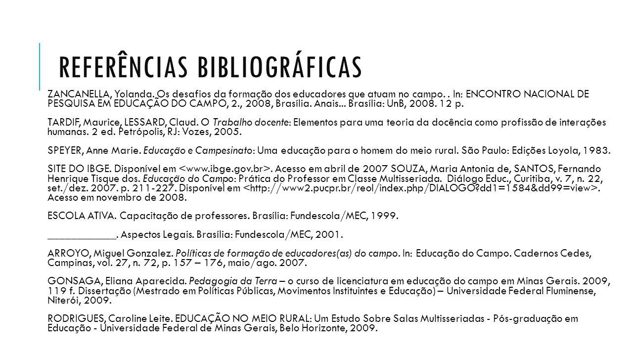 REFERÊNCIAS BIBLIOGRÁFICAS ZANCANELLA, Yolanda. Os desafios da formação dos educadores que atuam no campo.. In: ENCONTRO NACIONAL DE PESQUISA EM EDUCA