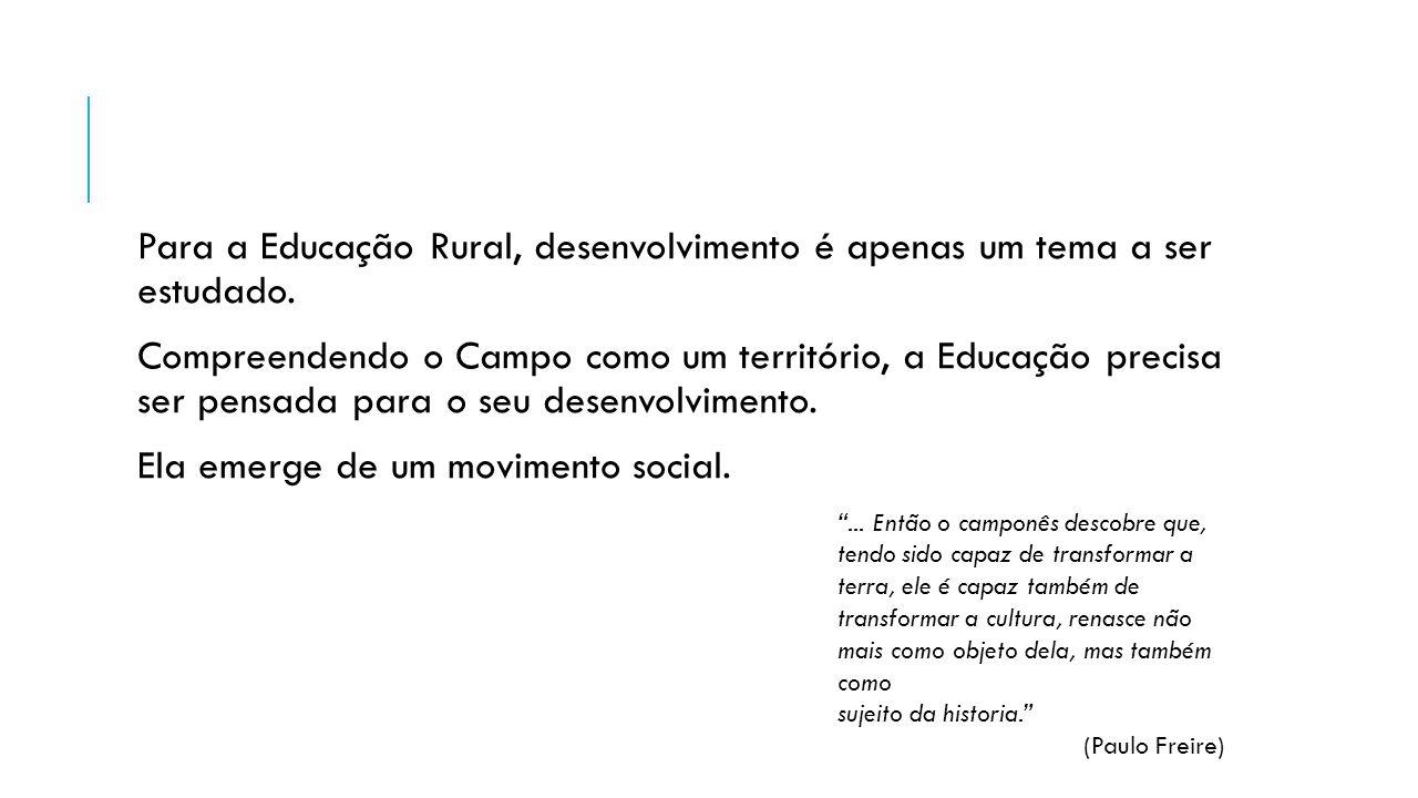 Para a Educação Rural, desenvolvimento é apenas um tema a ser estudado. Compreendendo o Campo como um território, a Educação precisa ser pensada para