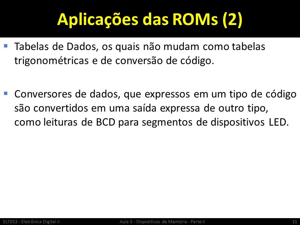 Aplicações das ROMs (2)  Tabelas de Dados, os quais não mudam como tabelas trigonométricas e de conversão de código.