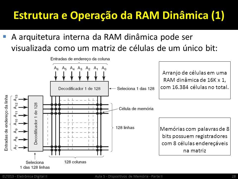 Estrutura e Operação da RAM Dinâmica (1)  A arquitetura interna da RAM dinâmica pode ser visualizada como um matriz de células de um único bit: ELT013 - Eletrônica Digital II Aula 5 - Dispositivos de Memória - Parte II28 Arranjo de células em uma RAM dinâmica de 16K x 1, com 16.384 células no total.