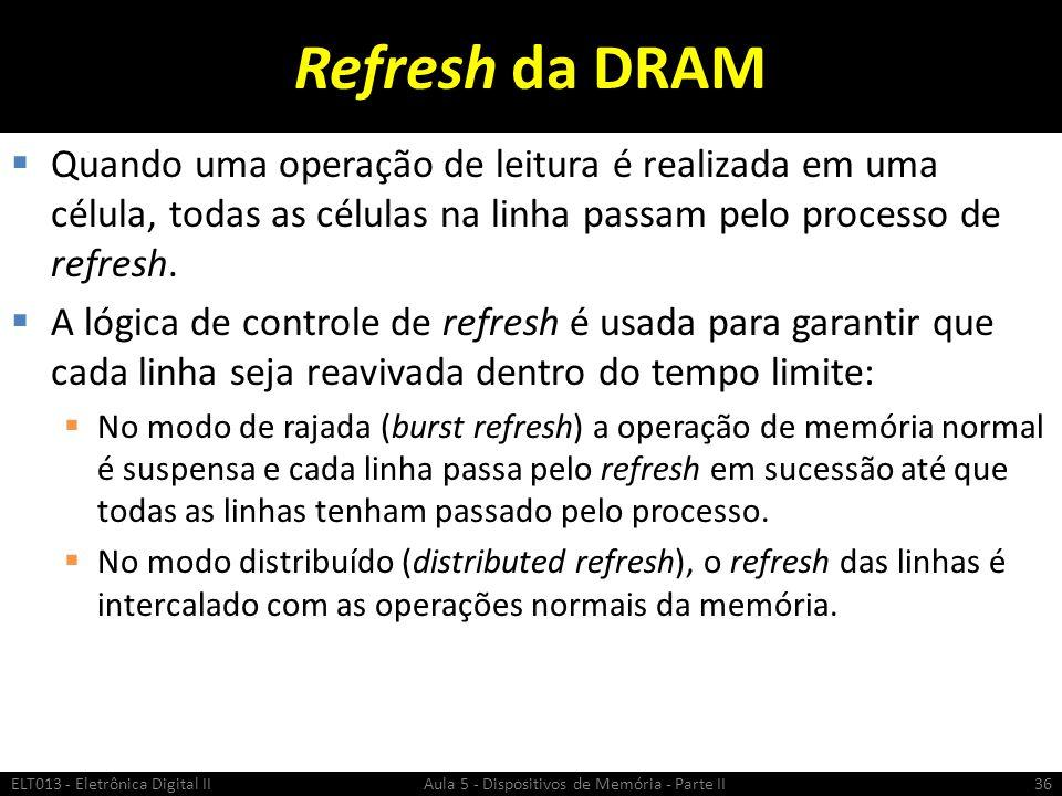 Refresh da DRAM  O método mais comum é o refresh apenas como RAS :  É realizado pulsando um endereço de linha com RAS enquanto o CAS e WE permanecem em ALTO.