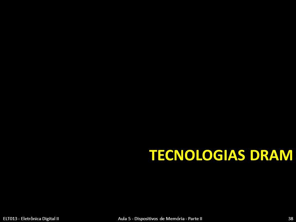 Tecnologias DRAM (1)  Memórias para produção em grande escala são feitas com conectores de interfaces de memória padrão.