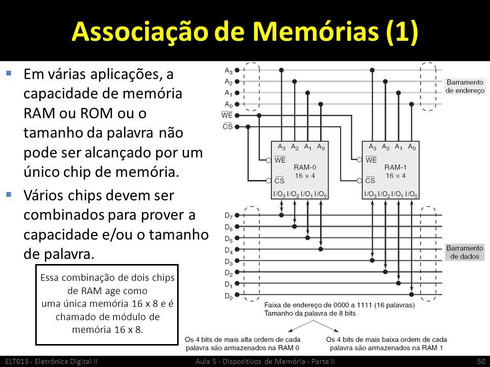 Associação de Memórias (1)  Em várias aplicações, a capacidade de memória RAM ou ROM ou o tamanho da palavra não pode ser alcançado por um único chip de memória.
