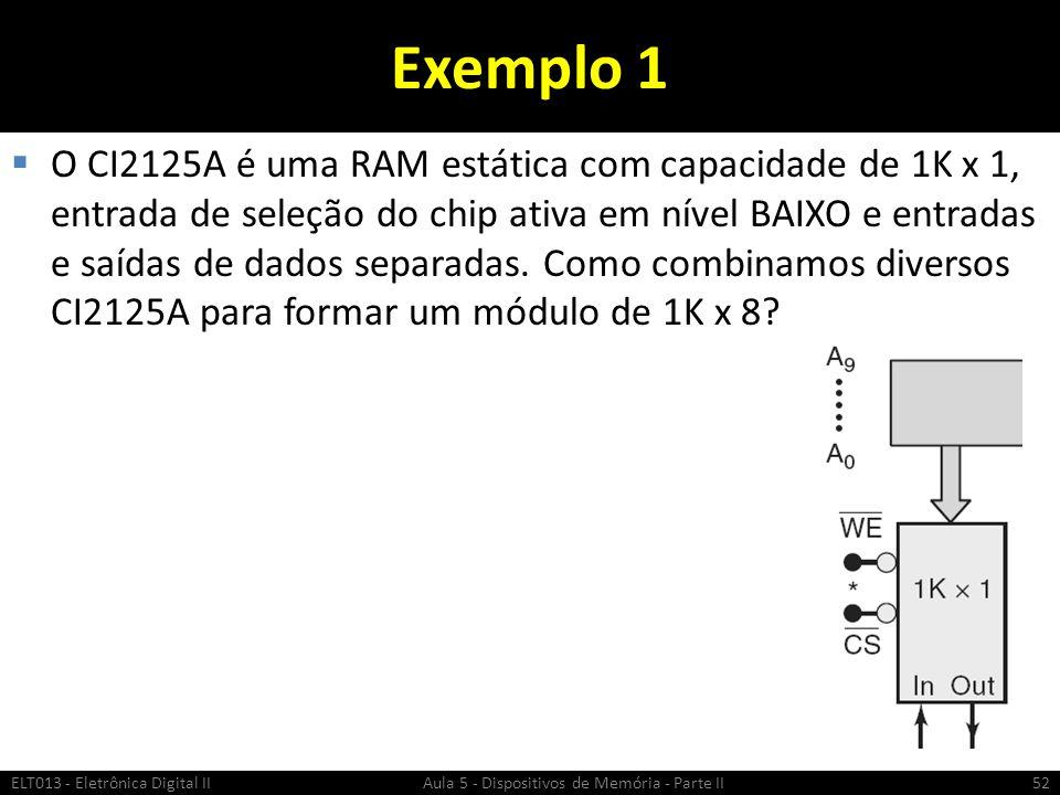 Exemplo 1  O CI2125A é uma RAM estática com capacidade de 1K x 1, entrada de seleção do chip ativa em nível BAIXO e entradas e saídas de dados separadas.