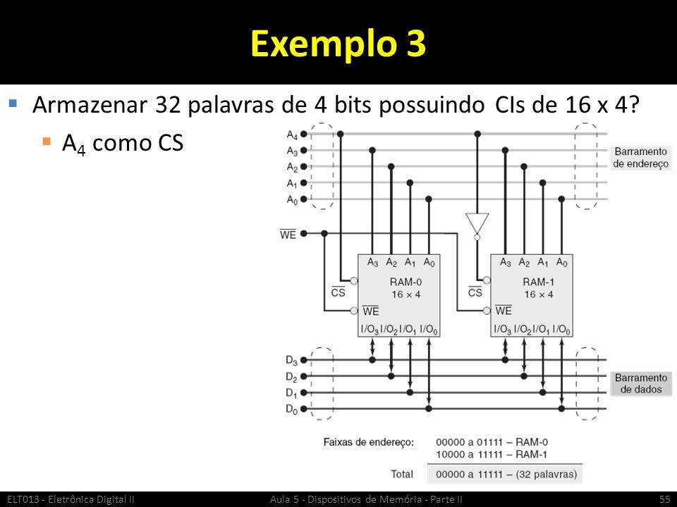 Exemplo 3  Armazenar 32 palavras de 4 bits possuindo CIs de 16 x 4.