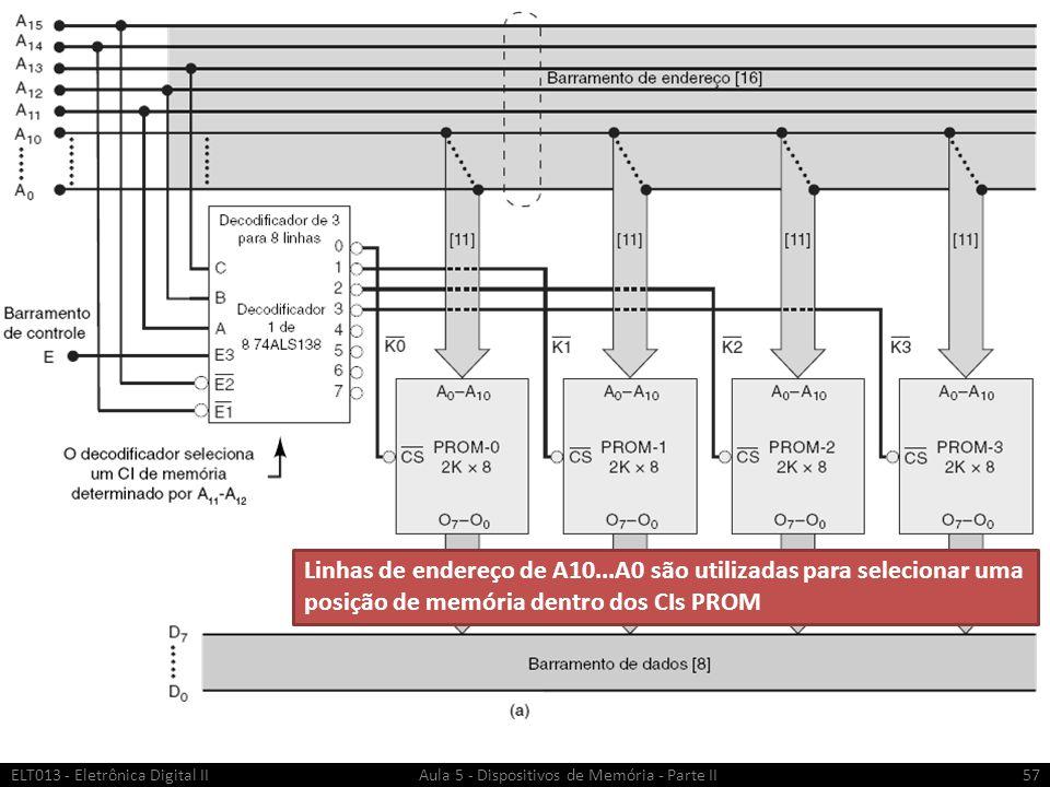 ELT013 - Eletrônica Digital II Aula 5 - Dispositivos de Memória - Parte II58 Linhas de endereço de A13 A12 A11 são utilizadas para selecionar QUAL CI será ativado.