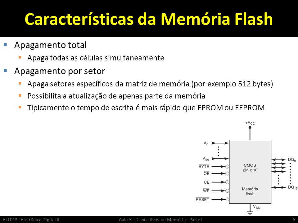 CI de Memória Flash CMOS Típico (1)  Para o CI da figura 4M x 8 ou 2M x 16  A 0...A 20 → Barramento de dados  DQ 0...DQ 15 → Barramento de endereços  WE → Write Enable  Nível baixo para operação de escrita  OE → Output Enable  Nível ALTO coloca a saída em alta impedância  CE → Chip Enable  Nível ALTO coloca a saída em alta impedância ELT013 - Eletrônica Digital II Aula 5 - Dispositivos de Memória - Parte II7