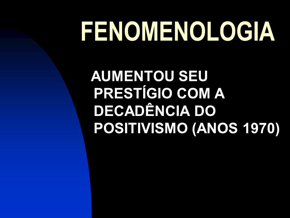 FENOMENOLOGIA AUMENTOU SEU PRESTÍGIO COM A DECADÊNCIA DO POSITIVISMO (ANOS 1970)