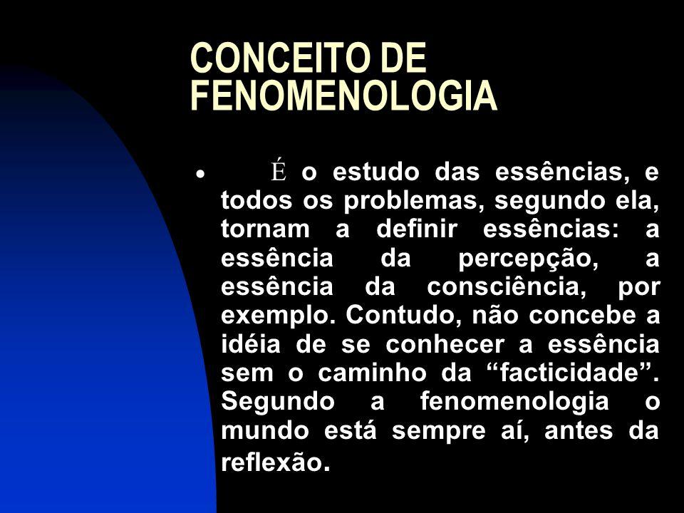 CONCEITO DE FENOMENOLOGIA  É o estudo das essências, e todos os problemas, segundo ela, tornam a definir essências: a essência da percepção, a essênc