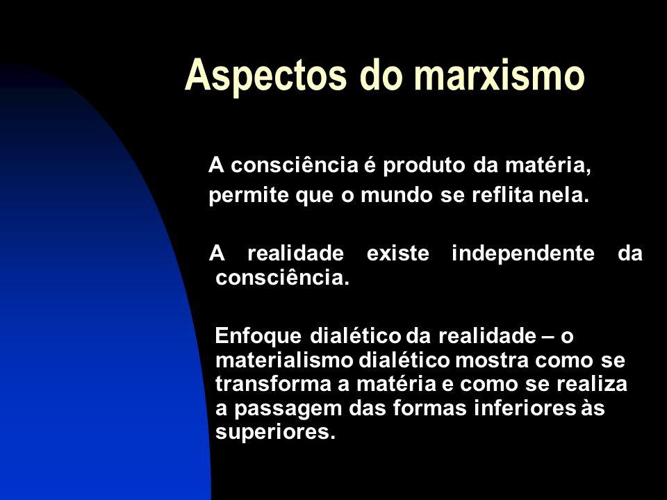 Aspectos do marxismo A consciência é produto da matéria, permite que o mundo se reflita nela. A realidade existe independente da consciência. Enfoque