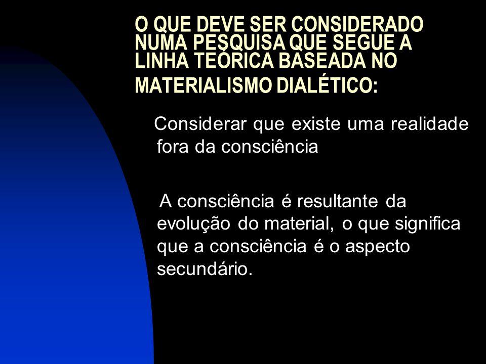 O QUE DEVE SER CONSIDERADO NUMA PESQUISA QUE SEGUE A LINHA TEÓRICA BASEADA NO MATERIALISMO DIALÉTICO: Considerar que existe uma realidade fora da cons