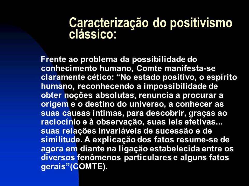 """Caracterização do positivismo clássico: Frente ao problema da possibilidade do conhecimento humano, Comte manifesta-se claramente cético: """"No estado p"""