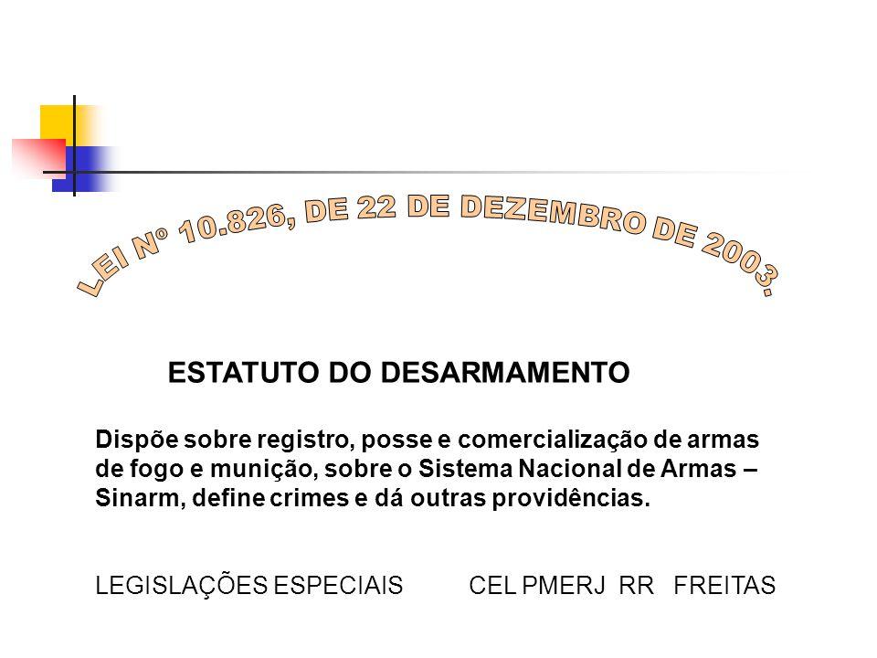 ESTATUTO DO DESARMAMENTO Dispõe sobre registro, posse e comercialização de armas de fogo e munição, sobre o Sistema Nacional de Armas – Sinarm, define