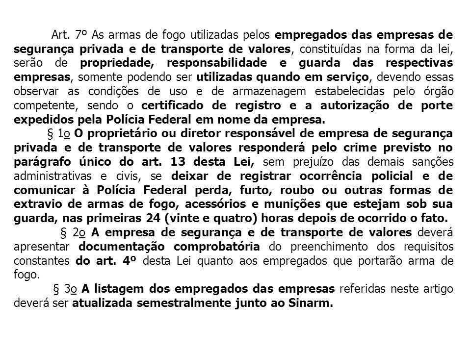 Art. 7º As armas de fogo utilizadas pelos empregados das empresas de segurança privada e de transporte de valores, constituídas na forma da lei, serão