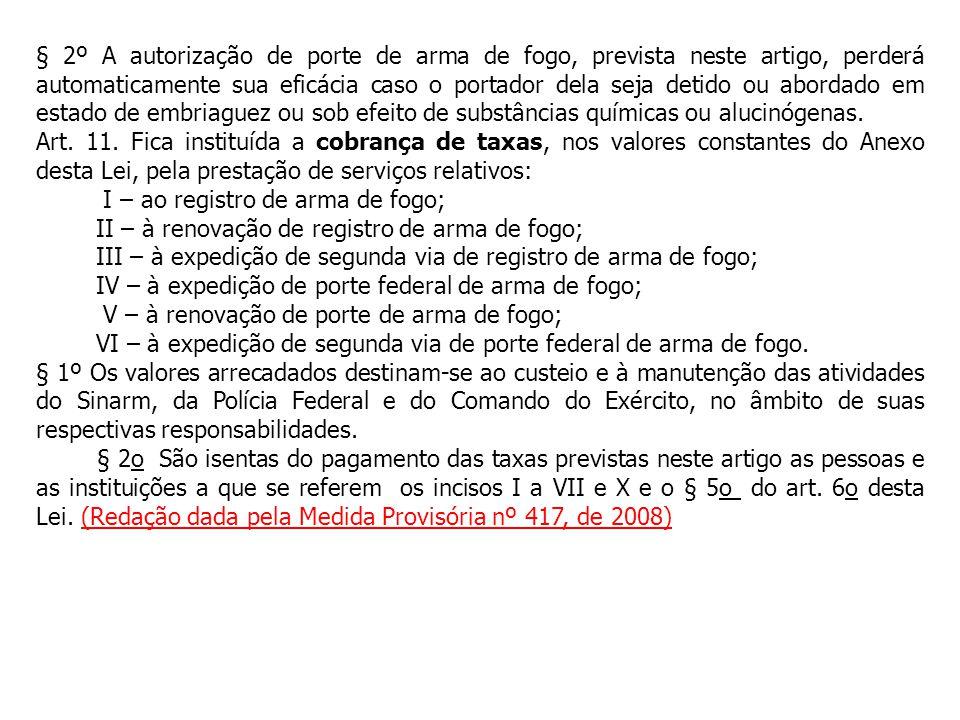 Art. 11. Fica instituída a cobrança de taxas, nos valores constantes do Anexo desta Lei, pela prestação de serviços relativos: I – ao registro de arma