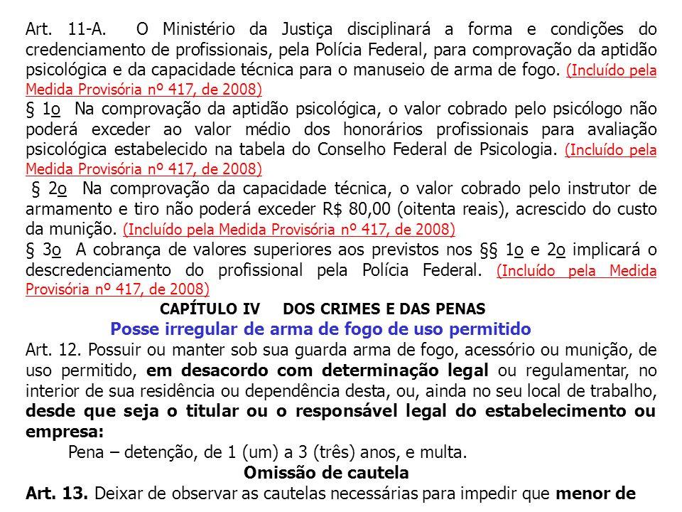 Art. 11-A. O Ministério da Justiça disciplinará a forma e condições do credenciamento de profissionais, pela Polícia Federal, para comprovação da apti