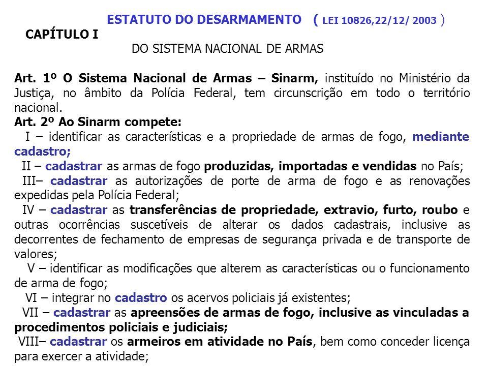 ESTATUTO DO DESARMAMENTO ( LEI 10826,22/12/ 2003 ) CAPÍTULO I DO SISTEMA NACIONAL DE ARMAS Art. 1º O Sistema Nacional de Armas – Sinarm, instituído no