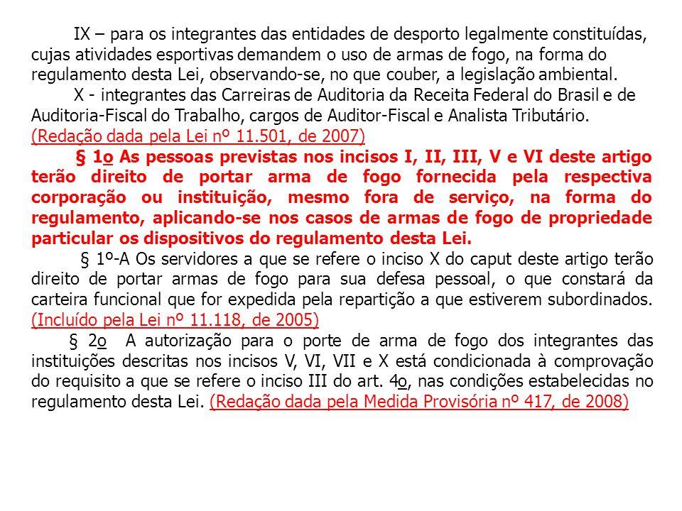 IX – para os integrantes das entidades de desporto legalmente constituídas, cujas atividades esportivas demandem o uso de armas de fogo, na forma do r