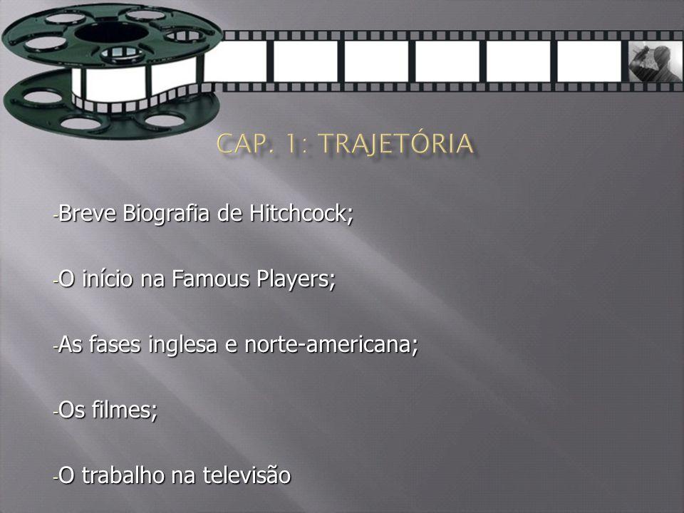 - Breve Biografia de Hitchcock; - O início na Famous Players; - As fases inglesa e norte-americana; - Os filmes; - O trabalho na televisão