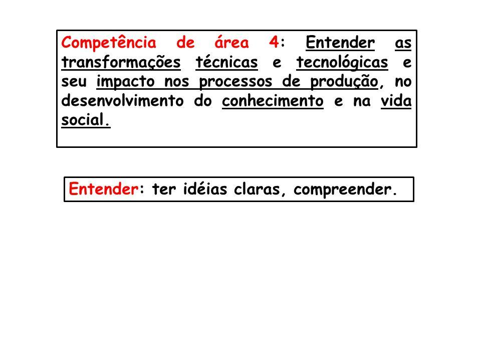 Competência de área 4: Entender as transformações técnicas e tecnológicas e seu impacto nos processos de produção, no desenvolvimento do conhecimento