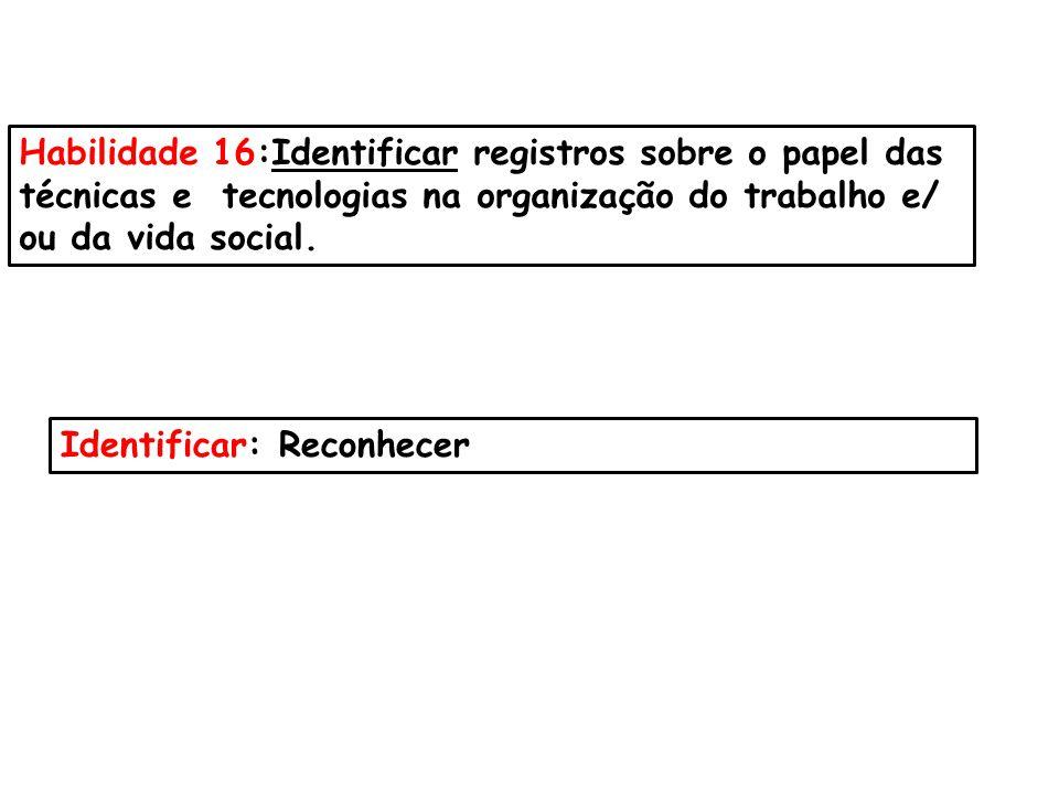 Habilidade 16:Identificar registros sobre o papel das técnicas e tecnologias na organização do trabalho e/ ou da vida social. Identificar: Reconhecer