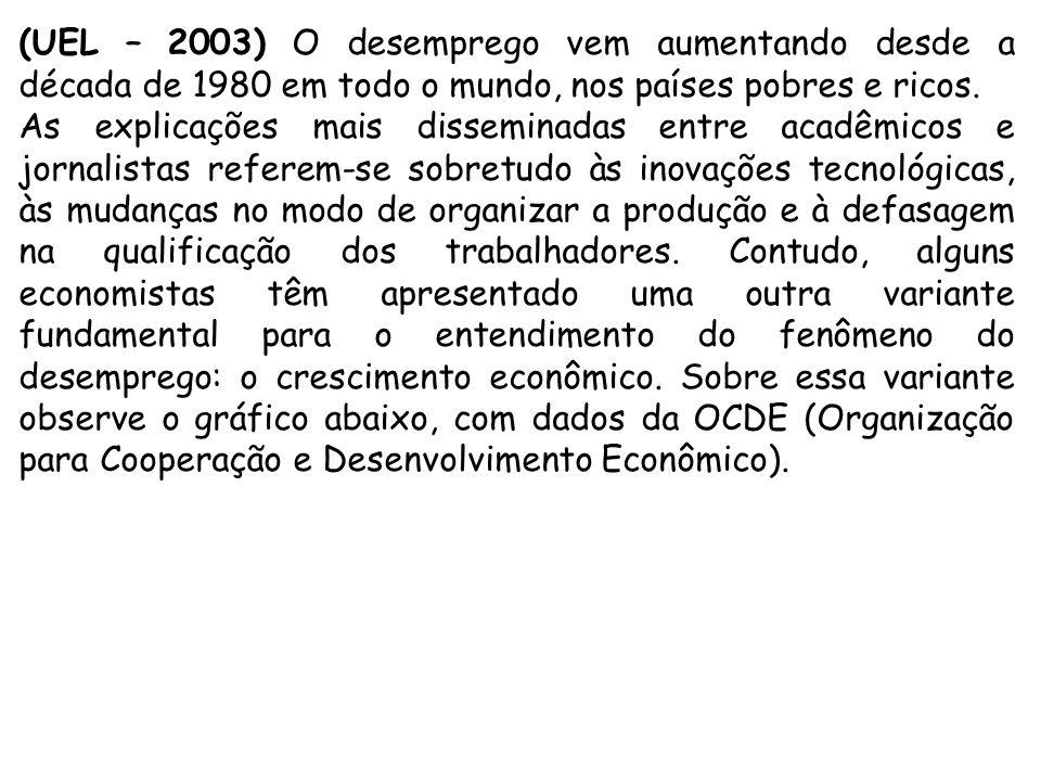(UEL – 2003) O desemprego vem aumentando desde a década de 1980 em todo o mundo, nos países pobres e ricos. As explicações mais disseminadas entre aca