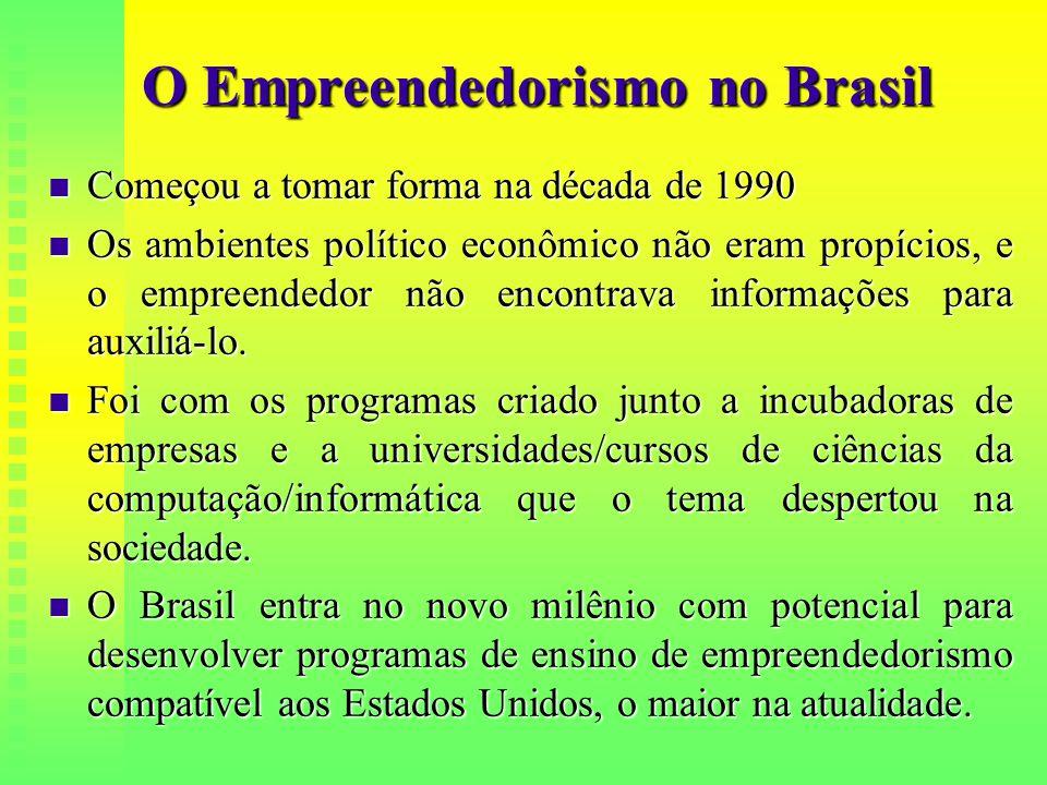 O Empreendedorismo no Brasil  Começou a tomar forma na década de 1990  Os ambientes político econômico não eram propícios, e o empreendedor não enco
