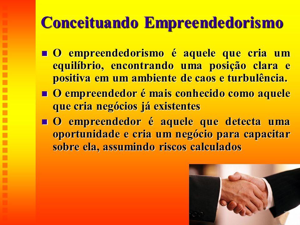 Conceituando Empreendedorismo  O empreendedorismo é aquele que cria um equilíbrio, encontrando uma posição clara e positiva em um ambiente de caos e