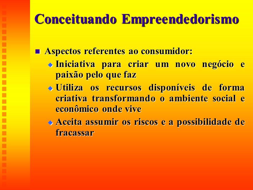 Conceituando Empreendedorismo  Aspectos referentes ao consumidor:  Iniciativa para criar um novo negócio e paixão pelo que faz  Utiliza os recursos