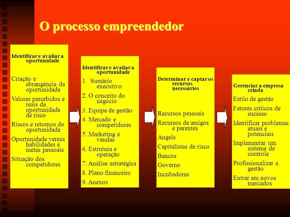 O processo empreendedor Identificar e avaliar a oportunidade Criação e abrangência da oportunidade Valores percebidos e reais da oportunidade de risco