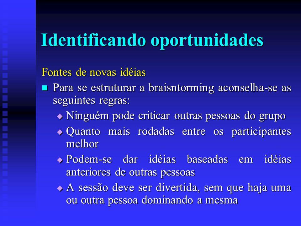 Identificando oportunidades Fontes de novas idéias  Para se estruturar a braisntorming aconselha-se as seguintes regras:  Ninguém pode criticar outr