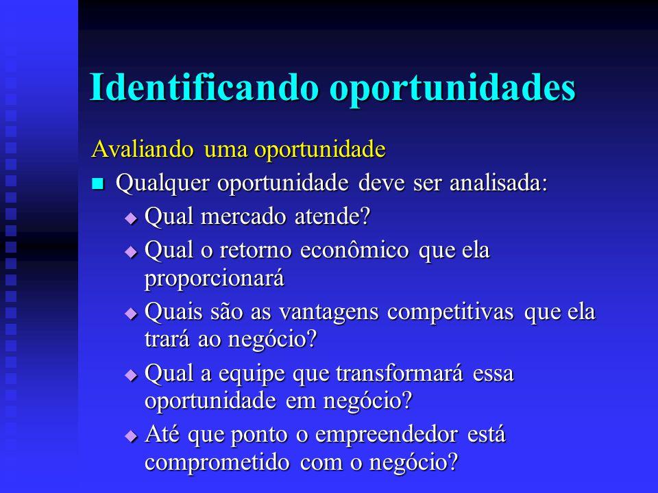 Identificando oportunidades Avaliando uma oportunidade  Qualquer oportunidade deve ser analisada:  Qual mercado atende?  Qual o retorno econômico q
