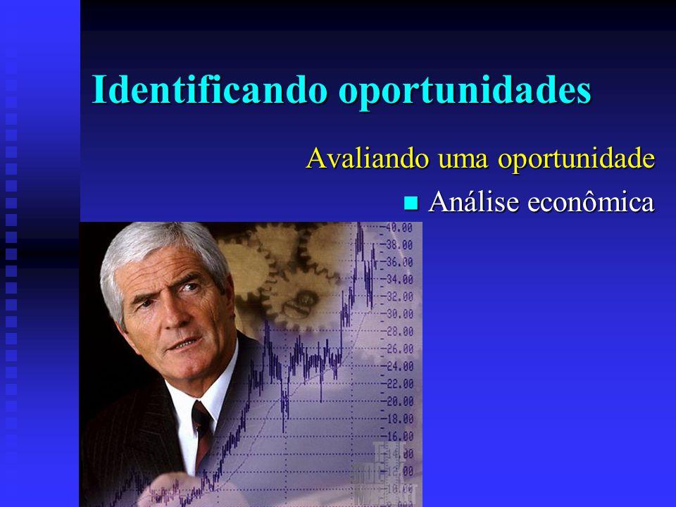 Identificando oportunidades Avaliando uma oportunidade  Análise econômica