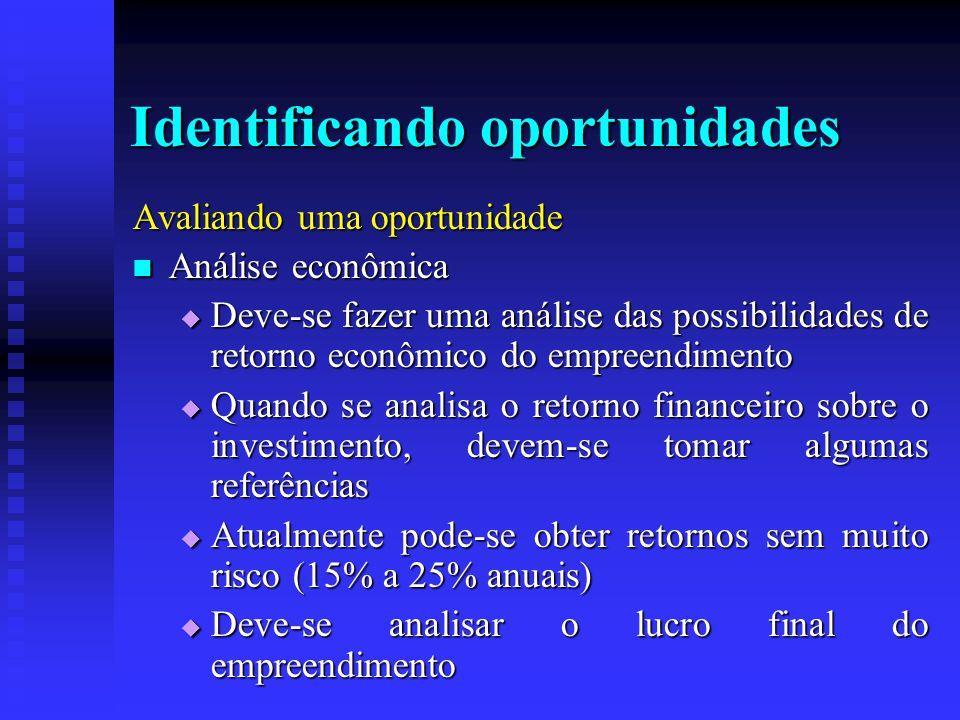Identificando oportunidades Avaliando uma oportunidade  Análise econômica  Deve-se fazer uma análise das possibilidades de retorno econômico do empr